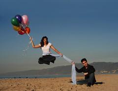 Michael Grandinetti Levitates A Girl Above Santa Monica Beach (EntvisionPR) Tags: california santa beach michael magic illusion monica float levitate grandinetti