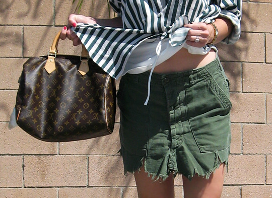striped button down+DIY cargo skirt+TOMS shoes+Louis Vuitton speedy -2