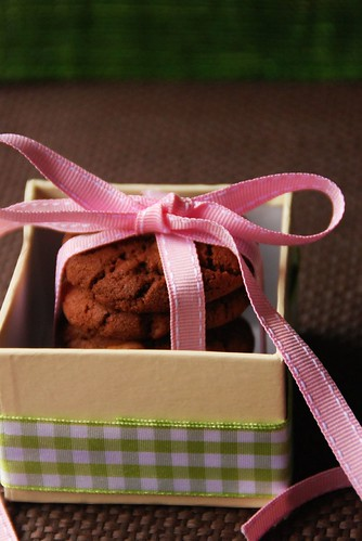 Chocolate Peanut butter chip cookies in a box