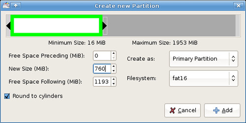 Setting up XubuntUSB - setting the first partition