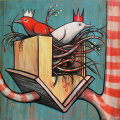 The Nest Box (verpabunny) Tags: original red white house birds painting acrylic nest upsidedown canvas crown kellyvivanco peppermintforest