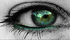 Green With  Envy....... (Just Me Angel-e) Tags: green eye mine almostbw aphoto a eyeofbeholder flickrhearts ithinkthisisart defendersmacro bicul italianflickrworld photonawards