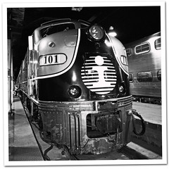 Illinois Central F-unit (bogray) Tags: blackandwhite bw mono display 101 amtrak locomotive chicagounionstation illinoiscentral funit nationaltrainday2010