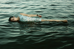 silver river. (MelindaShay.) Tags: ocean blue feet beach water girl strange hair dead weird scary hand dress d curves fingers danielle floating calm creepy float dropped explored