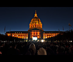 San Francisco City Hall, Game 5 World Series 2010 (Giants Vs Rangers) (Exploring Earth) Tags: world sanfrancisco california orange nikon baseball cityhall celebration explore series giants win civiccenter champions worldseries mlb game5 1755mm nikor bluehourcrowd