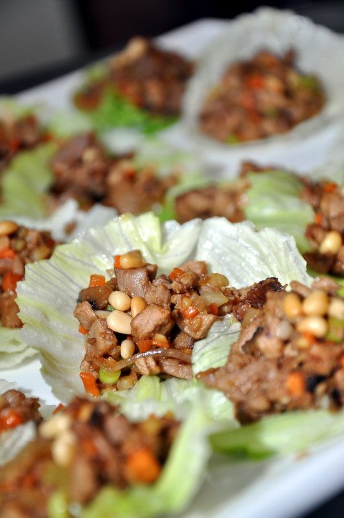 Treasure lettuce with stir fried duck cubes with pin nuts