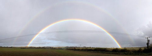 Full Double Rainbow Near Clanfield, Panorama