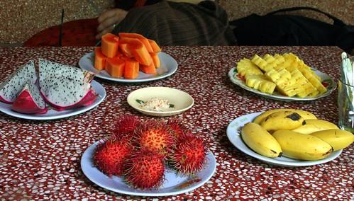 Fruit snacks while we watched Vietnamese singing