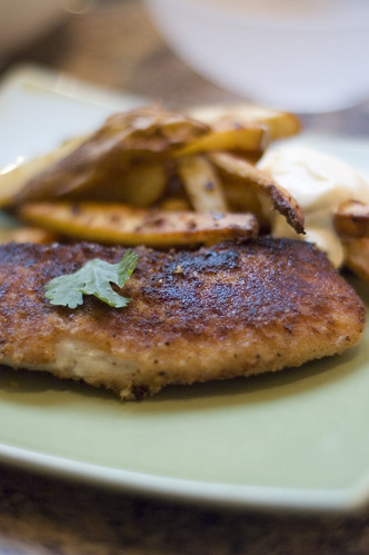 seared tilapia with oven fries