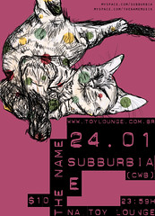 subburbia e the name @ toy lounge (estelle f) Tags: show bear music verde illustration cat cores poster sopaulo gig band rosa gato indie srie campinas cartaz urso independente subburbia thename