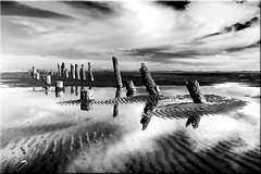 Pile Dreams ALW (Christopher J. Morley) Tags: bw white black reflection beach water lines vancouver clouds sand bc richmond explore iona swirls ripples pilings andabevelededgeseriouslyenoughwiththeborders whysarahithinkyouhaveborderenvy