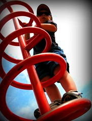 Red Corkscrew Climber Playground Thingy