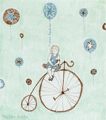 I wanna bicycle too! (bubbo.etsy.com) Tags: blue brown girl bicycle vintage balloons stars dress navy want dots too turqoise