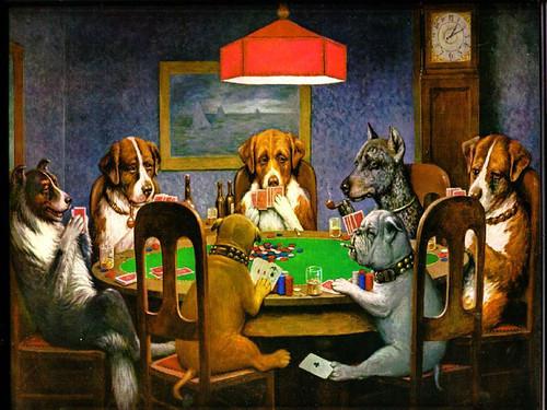 cuadro Perros jugando poker