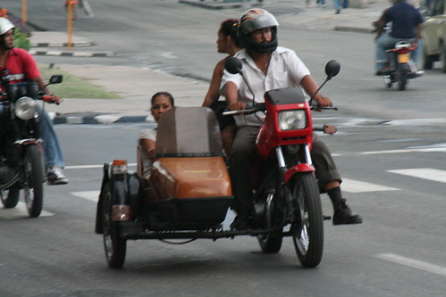 A motorbike and sidecar