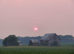 Barn in Field (cindy47452) Tags: sunset field barn indiana orangecounty bluehole lostriver