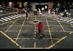 Crossroad (It's Stefan) Tags: people travelling lines roc asia asien downtown traffic geometry stripes  taiwan lifestyle streetlife aerial symmetry zebra taipei