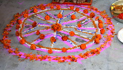 Flowers Rangoli (Manny Pabla) Tags: pink flowers wedding red india art colors canon rebel design colorful indian decoration style marriage desi punjab punjabi rangoli saini pabla hoshiarpur nawanshahr rurkikhas garhshankar