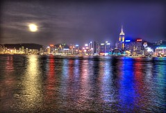 Moon Over Hong Kong (Stuck in Customs) Tags: world ocean china travel light sea panorama moon reflection art beautiful clouds photography hongkong lights photo nikon colorful downtown pretty photographer dynamic gorgeous details d2x dream fresh divine professional international photograph stunning pro charming foreign fabulous technique hdr trey artisitic engaging ratcliff stuckincustoms treyratcliff infinestyle