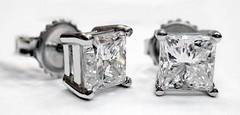 Diamond Stud Princess Cut Earrings