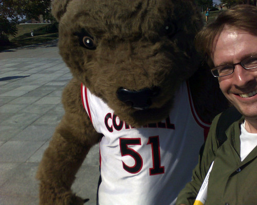[Me and Touchdown the Cornell Mascot]