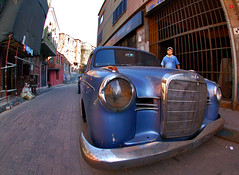 mercedes (mrkubi) Tags: old blue vintage mercedes going fisheye transportation w120
