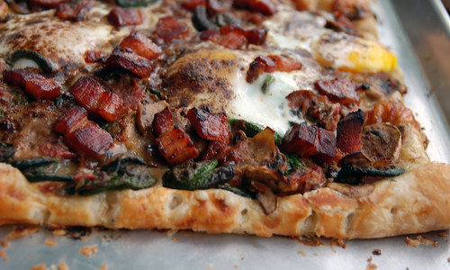 Breakfast Tart with Bacon, Fiddleheads, Mushrooms and Cheese