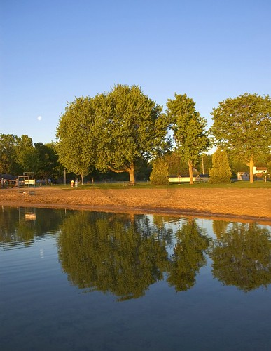 The beach area at Couchiching Beach Park; early morning with the moon still in the sky