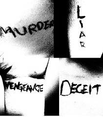 """""""I'm coming to kill you, won't leave until you've died."""" (xx h a i l e y b e a n) Tags: white black tattoo pen ink writing four cheek jaw leg murder wrist chapter liar collarbone deceit vengeance avenged sevenfold"""