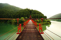 Red Bridge (PacoAlcantara) Tags: bridge red green japan forest river landscape island japanese michael countryside angle steel wide engineering wideangle symmetry godzilla hidden mexican civil  hanging zombies kansai japon tezuka crichton wakayama osamu    10mm   canonefs1022mmf3545usm      nothdr  flickrdiamond thewaronzombies