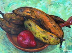 Plantains & Pear (Suzy Kitman Paints) Tags: stilllife pear oilpainting plantains impasto redbartlett suzykitman