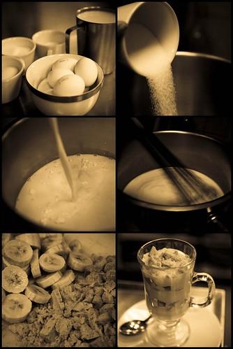 making banana pudding parfaits.