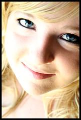 Reflection II (sjhartsfield) Tags: blue portrait woman girl lady female pretty blueeyes blond blonde eyeliner