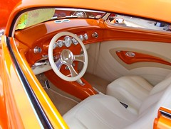 Orange you glad you looked at our photostream? (Texas Finn) Tags: white black classic glass car leather wheel yellow handle vent foot bucket pin steering interior seat stripe convertible airconditioner explore chrome dash guages pedals dashboard trim console striped pedal vents guage splendiferous wowiekazowie colourartaward thatsbostin theperfectphotographer