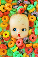 Fruit Lou (boopsie.daisy) Tags: food baby silly color colors strange face breakfast louis weird yummy funny colorful doll head peekaboo cereal creepy spooky delicious lou multiple quirky lots kooky fruitloops