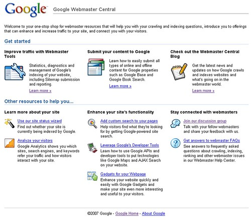 The new Google Webmaster Central Landing Page