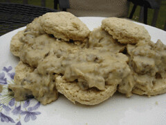 basic baking powder biscuits with Mom's sausage gravy, veganized