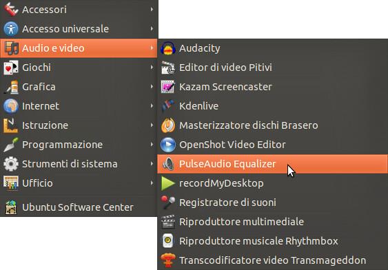 Figura 2 - Avvio di PulseAudio Equalizer da Applicazioni --> Audio e video;