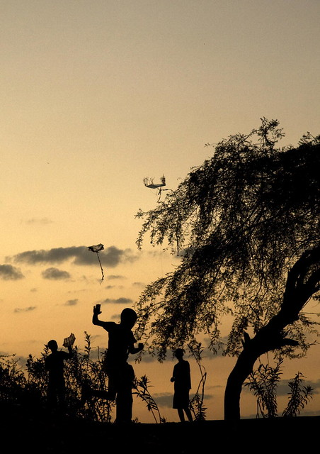 Haiti Children Fly Kites at Camp for Displaced