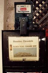 Clock Ticks (Herschell Hershey) Tags: usa canon eos newspaper war texas gulf georgewbush iraq front headline page tanks houstonchronicle clocktickstowardwar