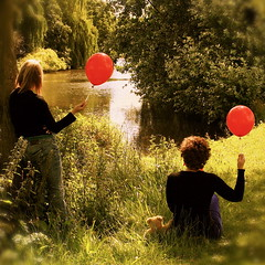 The red balloon diaries *6 (cattycamehome) Tags: bear park uk trees girls light red summer portrait england lake green water grass sunshine tag3 taggedout river balloons landscape happy countryside women stream tag2 tag1 searchthebest teddy bright derbyshire joy balloon dream relaxing july surreal dreaming summertime idyllic 2007 reverie catherineingram abigfave cattycamehome infinestyle allrightsreserved© redballoondiaries soulsresonance