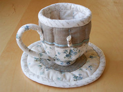 Quilted Teacup & Saucer 4 (PatchworkPottery) Tags: tea handmade sewing crafts country quilted patchwork teacup saucer zakka