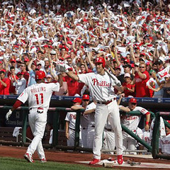 Phillies NLDS game 2 - Jimmy Rollins lead-off HR