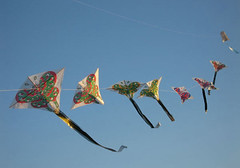 flying (eleni vraka (e_vra)) Tags: blue sky kite flying joy butterflies ev chinesekite