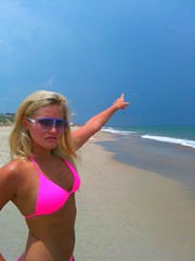 Storm!! (ijustine) Tags: ocean pink beach mobile blog pointing iphone justineezarik ijustine iphonephoto takenwithaniphone