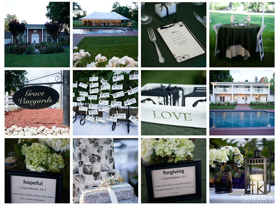 Vineyard wedding detail shots, Galt wedding photographer