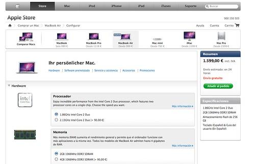 Ensalada de idiomas en la web del MacBookAir
