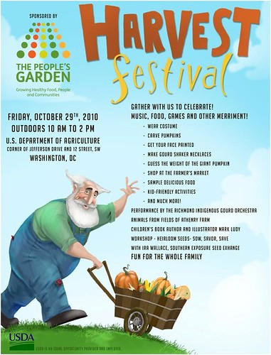 Flyer for USDA Harvest Festival, Friday October 29th, 2010