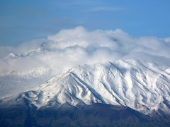 The first snow on the volcano Etna 3329.6 m (10,924 feet)  (Oct.19, 2010 from Taormina) (Luigi Strano) Tags: italy europa europe italia sicily taormina etna sicilia
