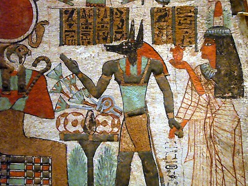 Anubis god of embalmment and Hathor god of day and air